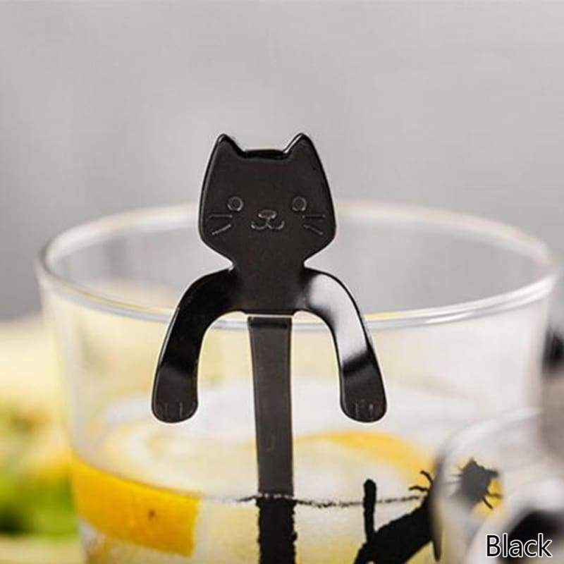 Spoon 1pc cute cat handle small ladle 304 stainless steel cup colorful