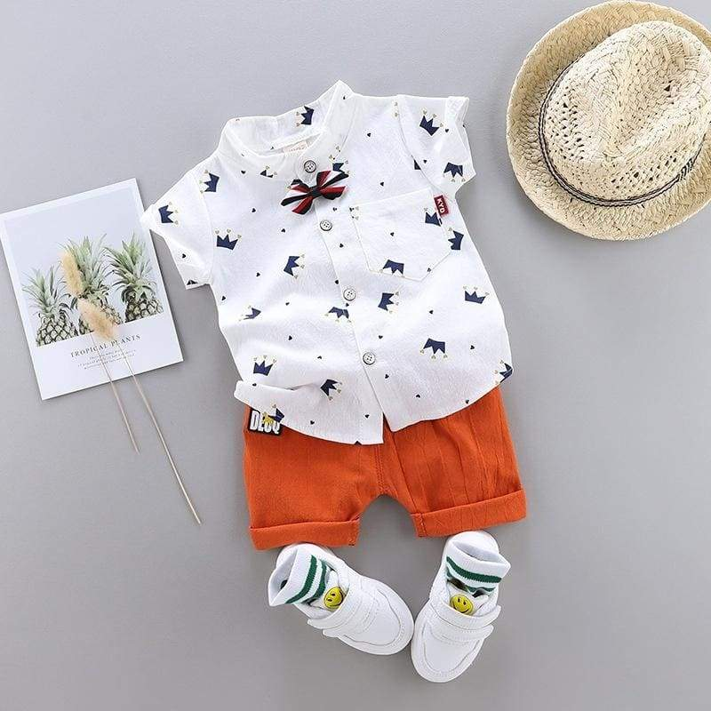 2Pcs Kids Boy Clothes Set Baby Summer Short Sleeve Fashionable Crown Printing Shirt + Shorts Boys Outfits Gentleman Clothing Set