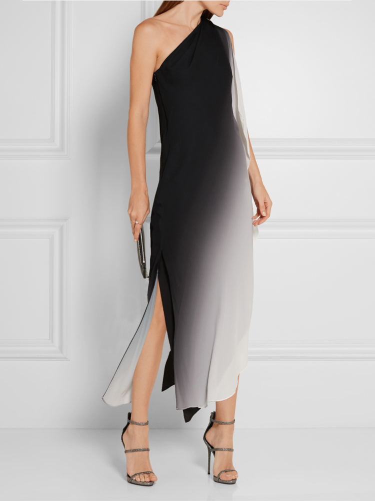 Single Shoulder Mid Dress with Asymmetrical Panel
