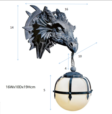Gothic Marshgate Castle Dragon Sculptural Electric Wall Sconce(BUY 2 GET FREE SHIPPING)