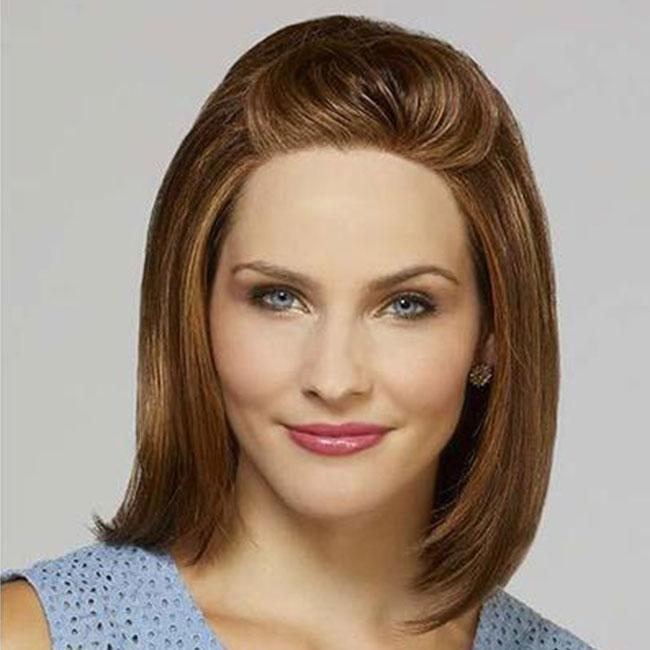 KAMI 079 Straight Shoulder Length Brown Human Hair Wigs No Bangs For White Women