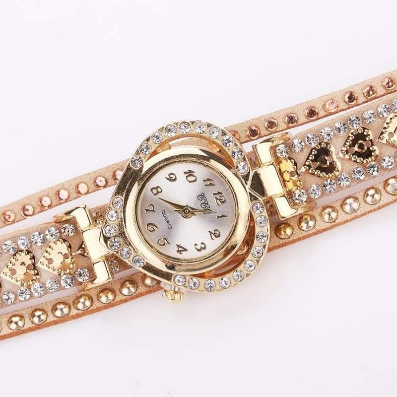 Luxury Ladies Fashion Love Dial Bracelet Watch Women Dress Rhinestone Soft Strap Quartz Watches Montre Femme