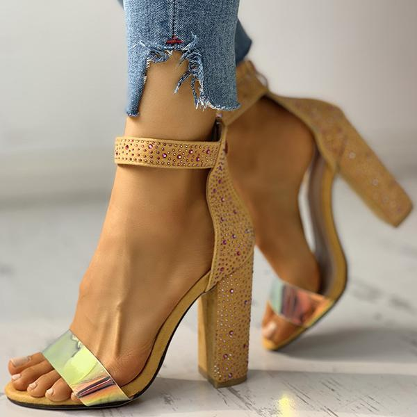 Faddishshoes Suede Studded Chunky Heeled Sandals