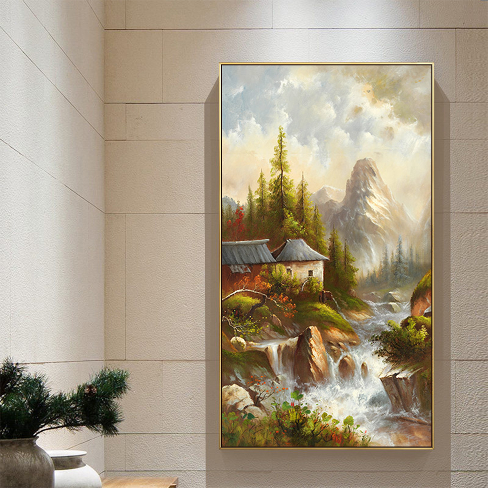 Green Mountain Peaks Flowing Water Landscape Canvas Abstract Oil Painting Art Decoration Wall Oil Painting Art