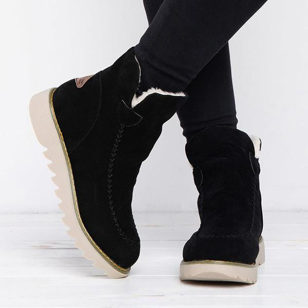 Faddishshoes Fur Lining Ankle Snow Boots
