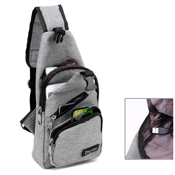 Large Capacity Outdoor Travel USB Charging Sling Bag Chest Bag Crossbody Bag