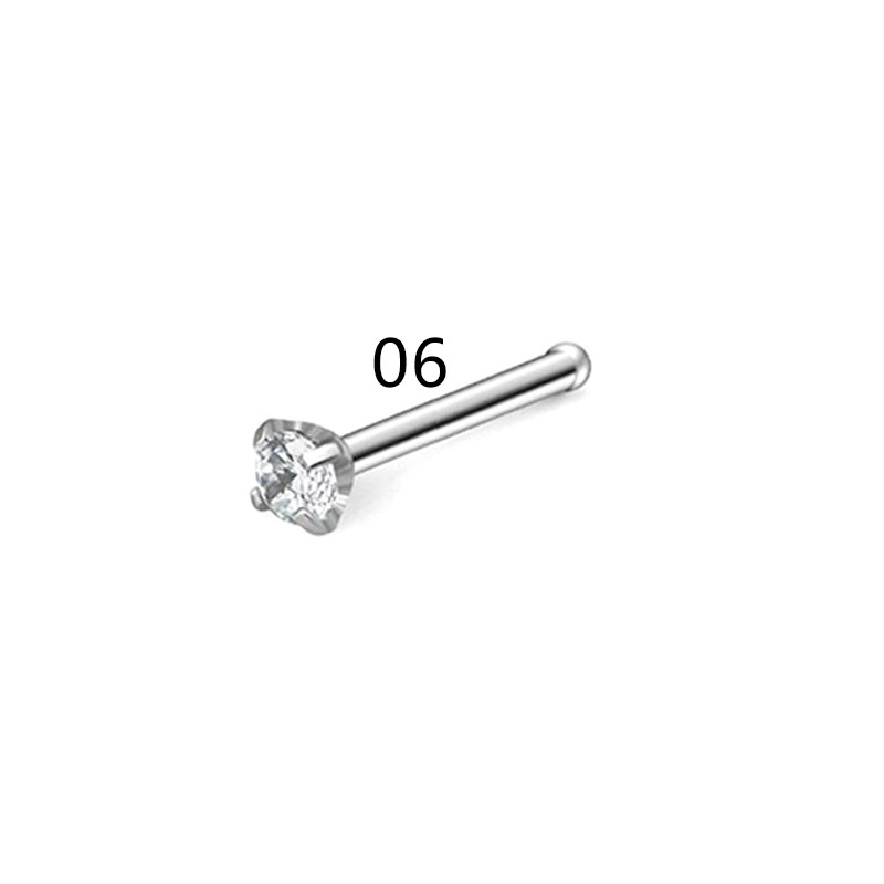 21PCS Stainless Steel with Rhinestones Nose Studs Straight Nose Pin Nose Piercing Rings Jewelry Set