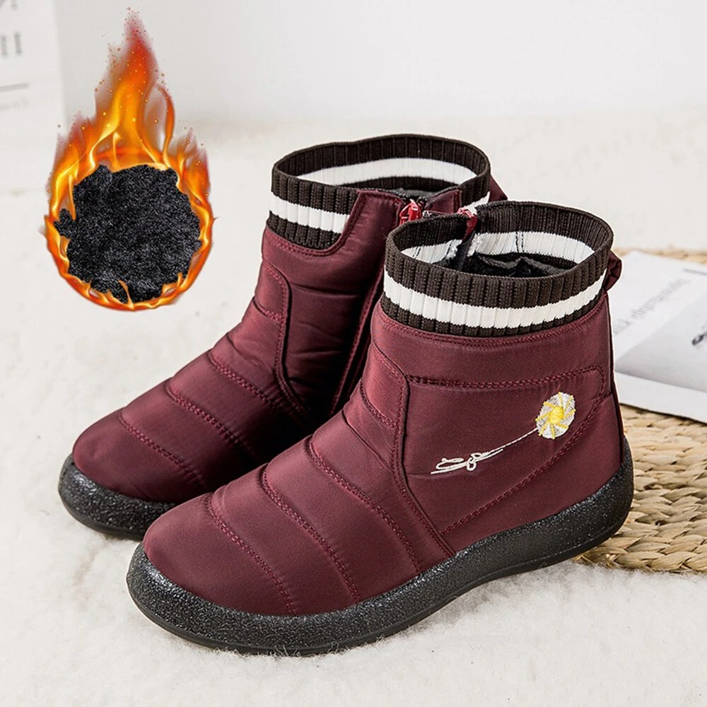 Large Size Waterproof Warm Lining Zipper Casual Snow Boots