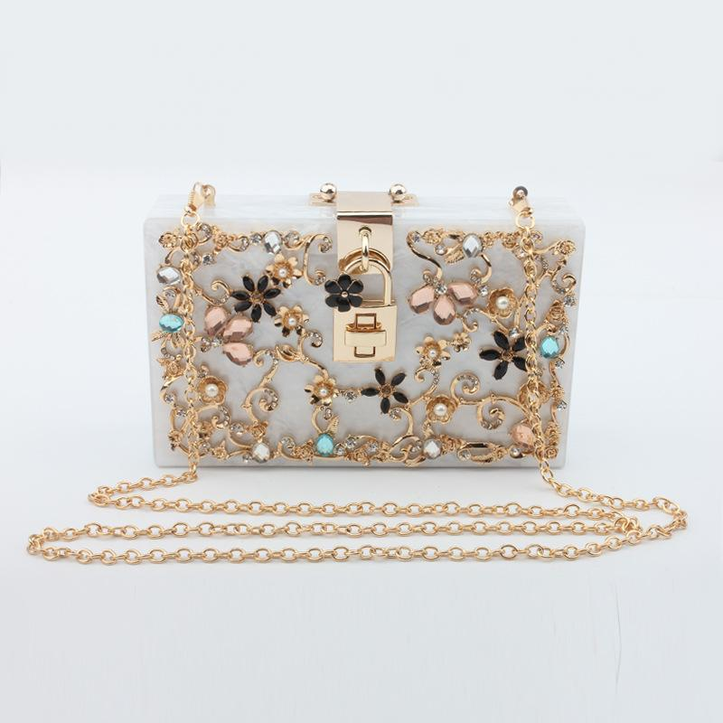 2019 Hotting selling Solid Color Acrylic Evening Bag Clutch With Flowers For Women Clutch-1.2