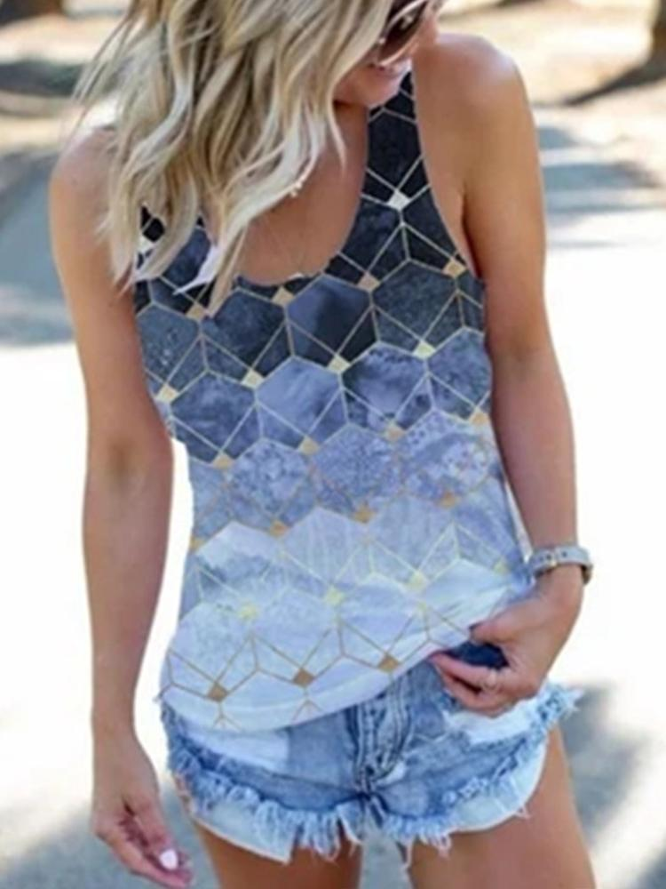 Women's Loose Printed V-neck with Long Vest