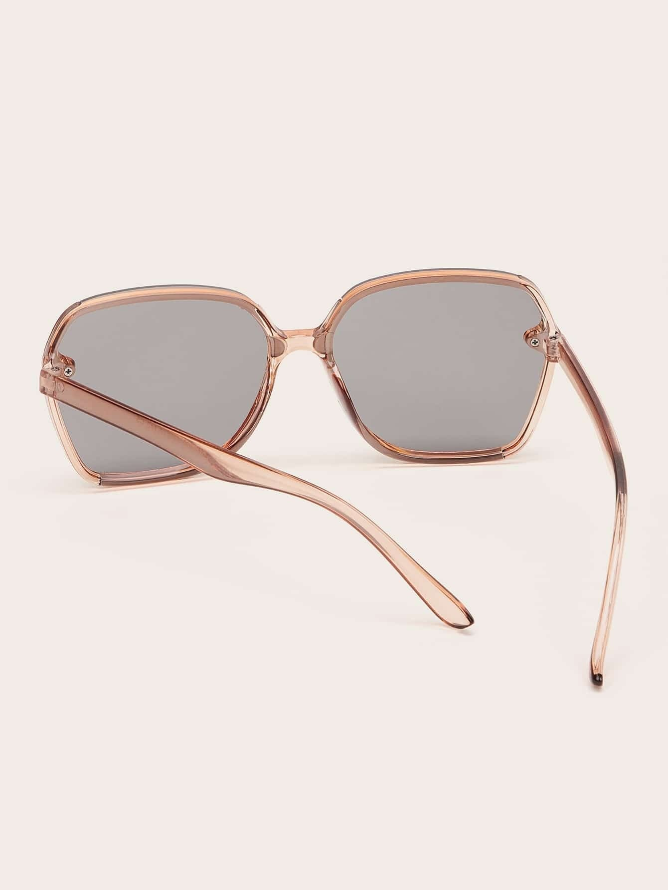 Two Tone Frame Flat Lens Sunglasses With Case