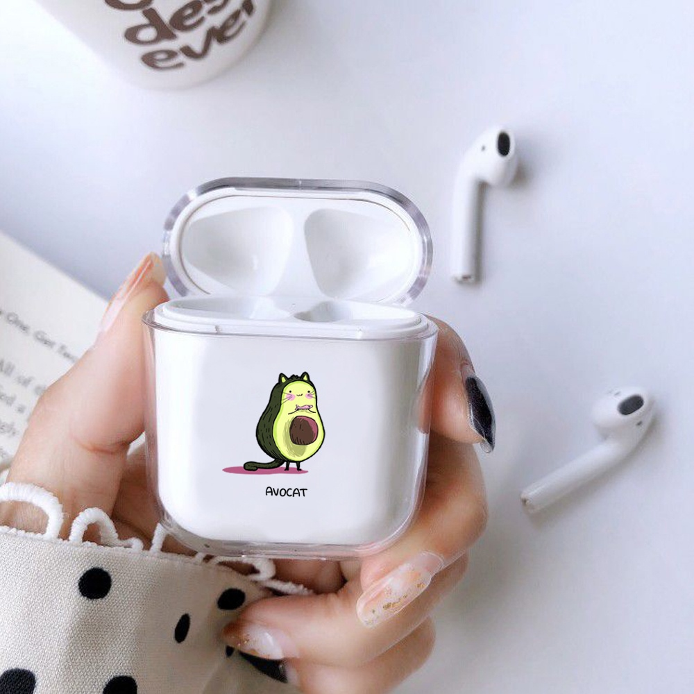 Fashion Summer Fruit Pattern Airpods Transparent Apple Headset Protective Cover Hard Shell Simple Hard Cover  Anti-fall Women