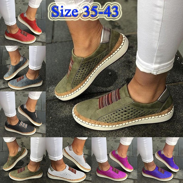 7 Colors Breathable Hollow Women Splicing Flat Loafers Casual Shoes Walking Shoes Soft and Comfortable Slip on Shoes