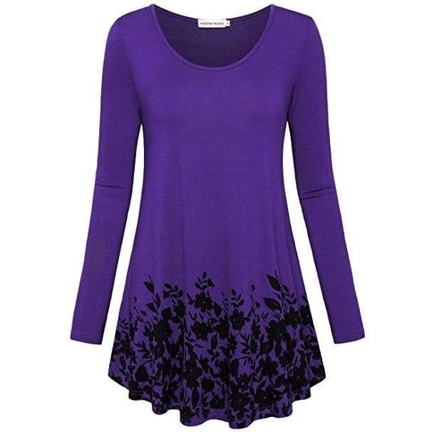 Women's Fashon Floral Printed Tunic Tops Long Sleeve A Line Blouse