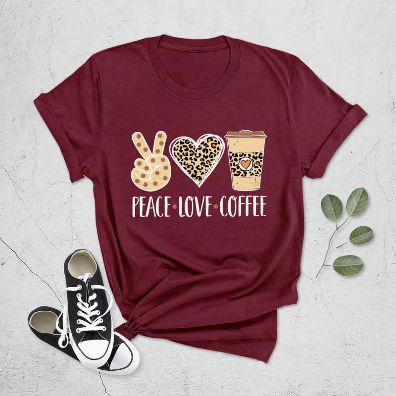 Peace Love Coffee Letter Print Round Neck Women's T-shirt