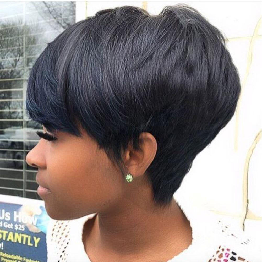 Luna 121 African American Layered Short Straight Hair Wig with Bangs
