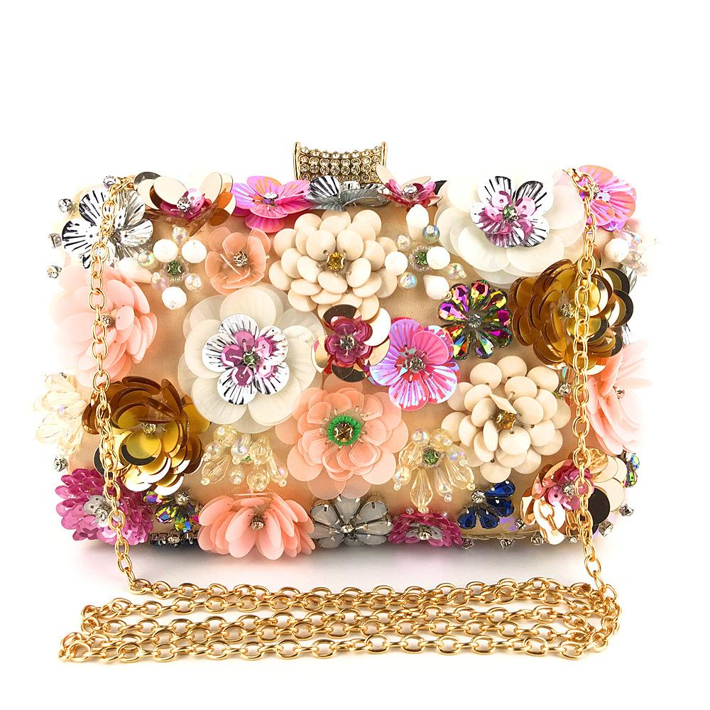 Fashion women bling party wedding baroque flower embroidered beaded small box evening bag clutches Clutch-1.2
