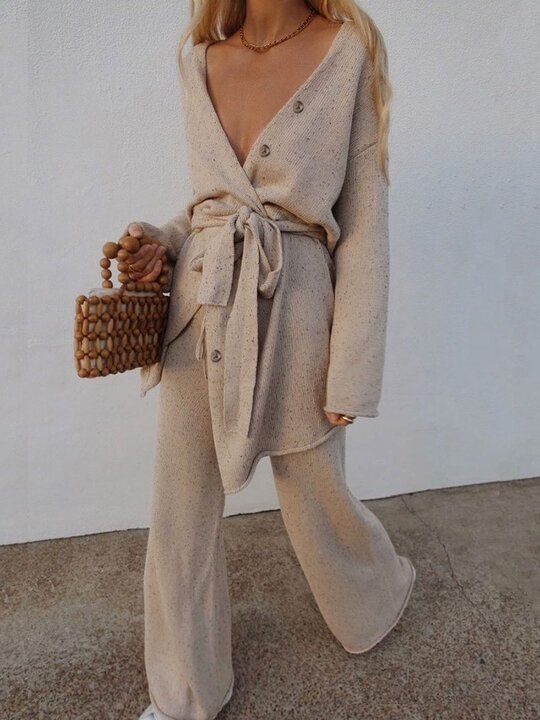Fashion Casual Long Sleeve Tie V-neck Two-piece Suit