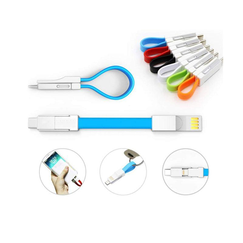 3-in-1 Magnetic Folding Keychain Charging Cable for iPhone/Android/Type-C