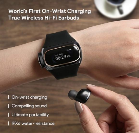 World's First Wireless Earbuds Charged Right on Your Wrist