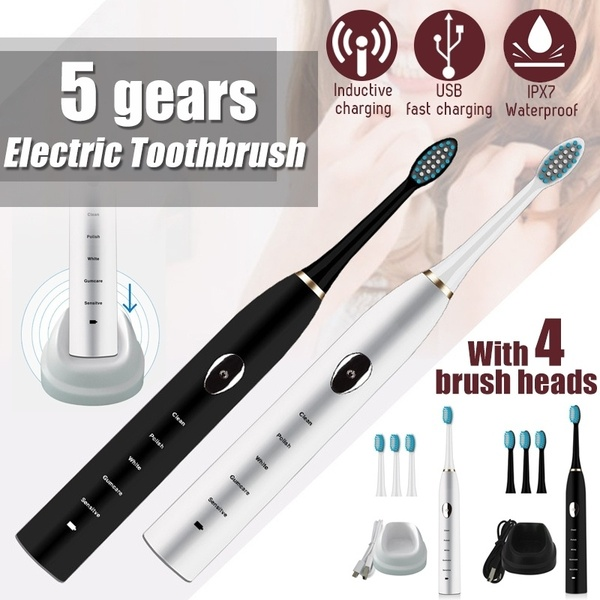 4 Replaced Toothbrush Head For Free Charging Sonic Electric Toothbrush 5 Modes Oral Electronic Power Toothbrushes IPX7 Remove Plaque Teeth Whitening