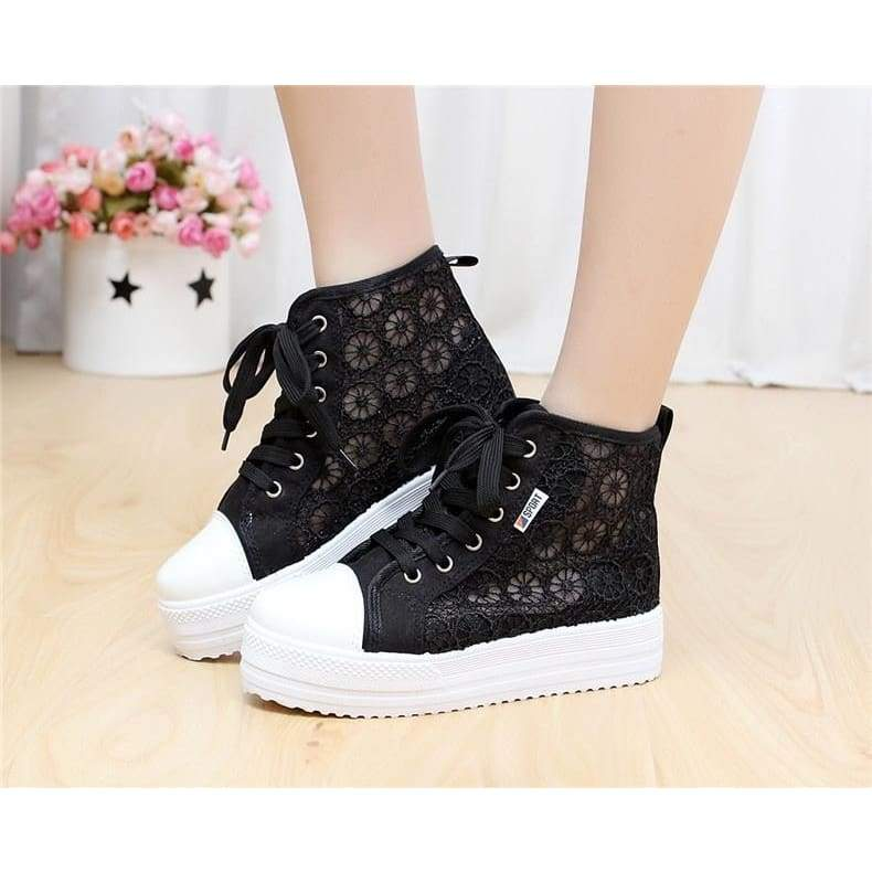 Cutouts Lace Canvas Shoes Hollow Floral Print Breathable Platform Women Casual Shoes Woman