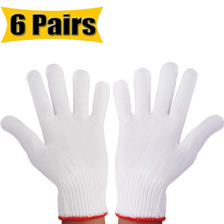 Hand Working Gloves Safety Grip Protection Work Gloves, for Work Safety Thick Cotton (6 Pairs)