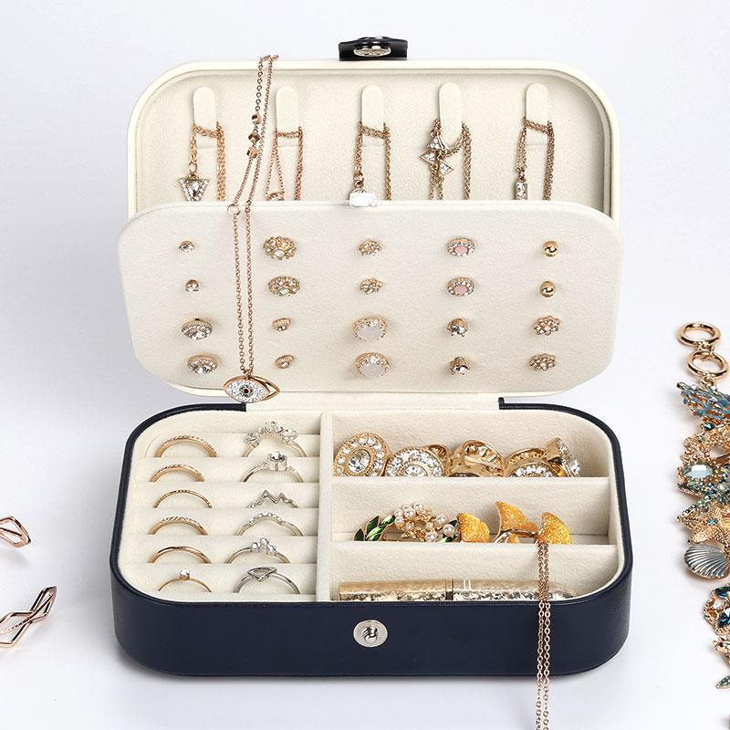 Portable Leather Multi-function Storage Box Case Jewelry Box