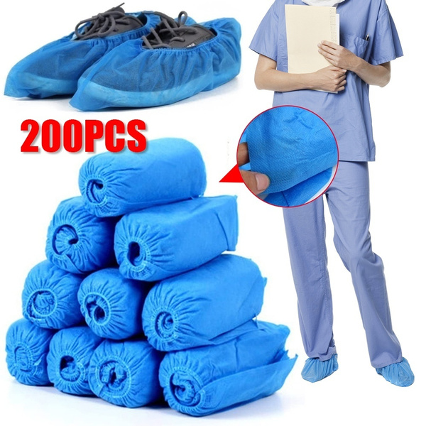 Non-woven Fabric Disposable Shoes Covers with Elastic Band Breathable Dust-proof Thickened Anti-slip Anti-static Shoe Covers Hygienic Overshoes for Home Workshop Hospital