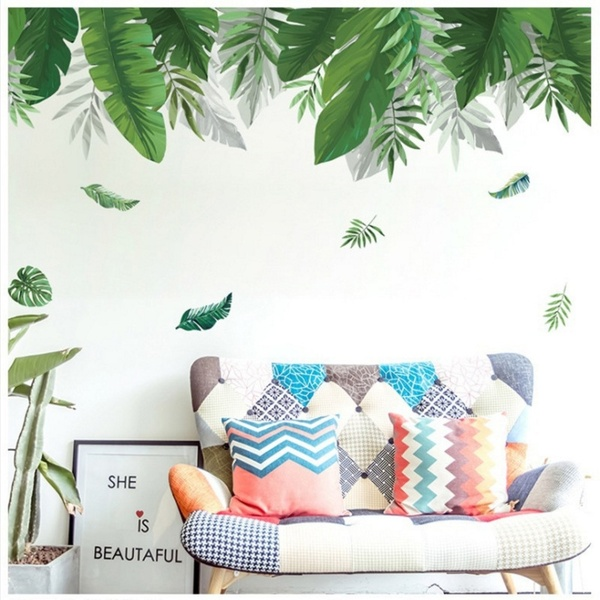 Tropical Vegetation Large Green Leaf Wall Stickers Porch Sofa Background Decorative Stickers PVC Removable Wall Decals