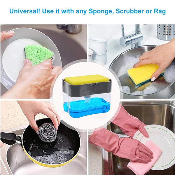 2 in 1 Instant Pump Soap Dispenser and Sponge Organizer Tray for Kitchen Dishwash