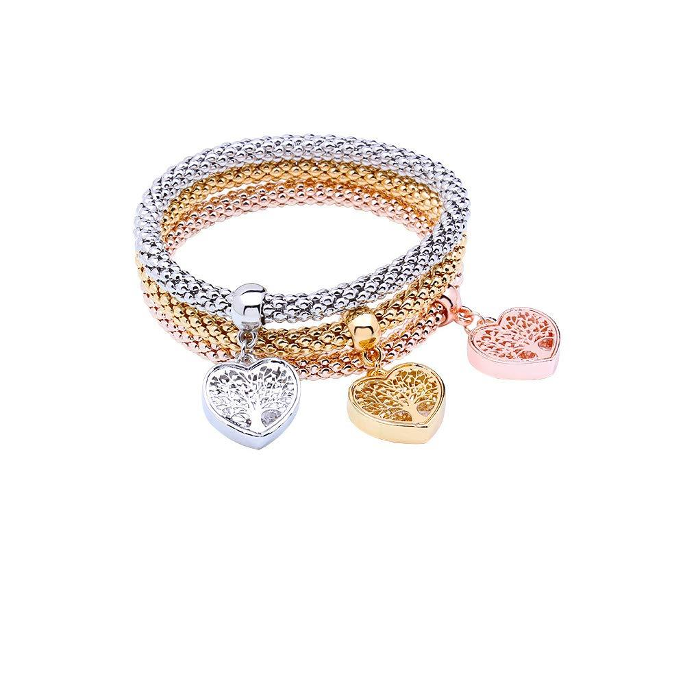 3PCS Gold/Silver/Rose Gold Corn Chain Crystal Charms Multilayer Bracelets for Women