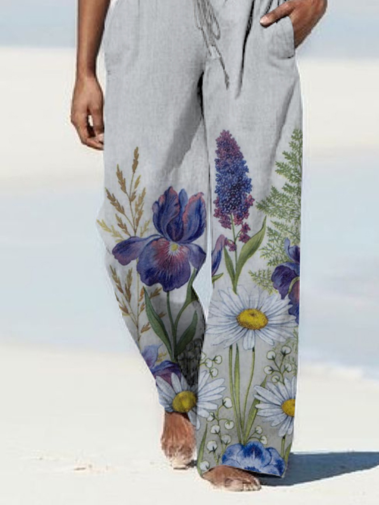 New Casual Printed Wide-Leg Pants Trousers