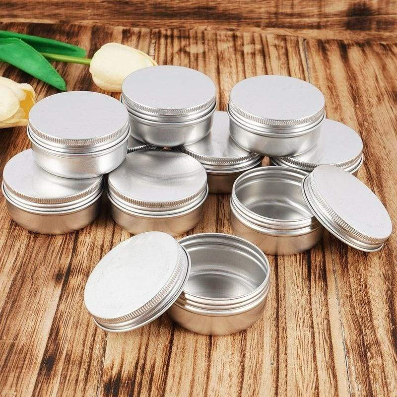 50/40/30/20/10Pcs/Set 50/100ML Tin Cans Screw Top Round Metal Lip Balm Cream Tins Containers Balm Tin Storage Jar Containers