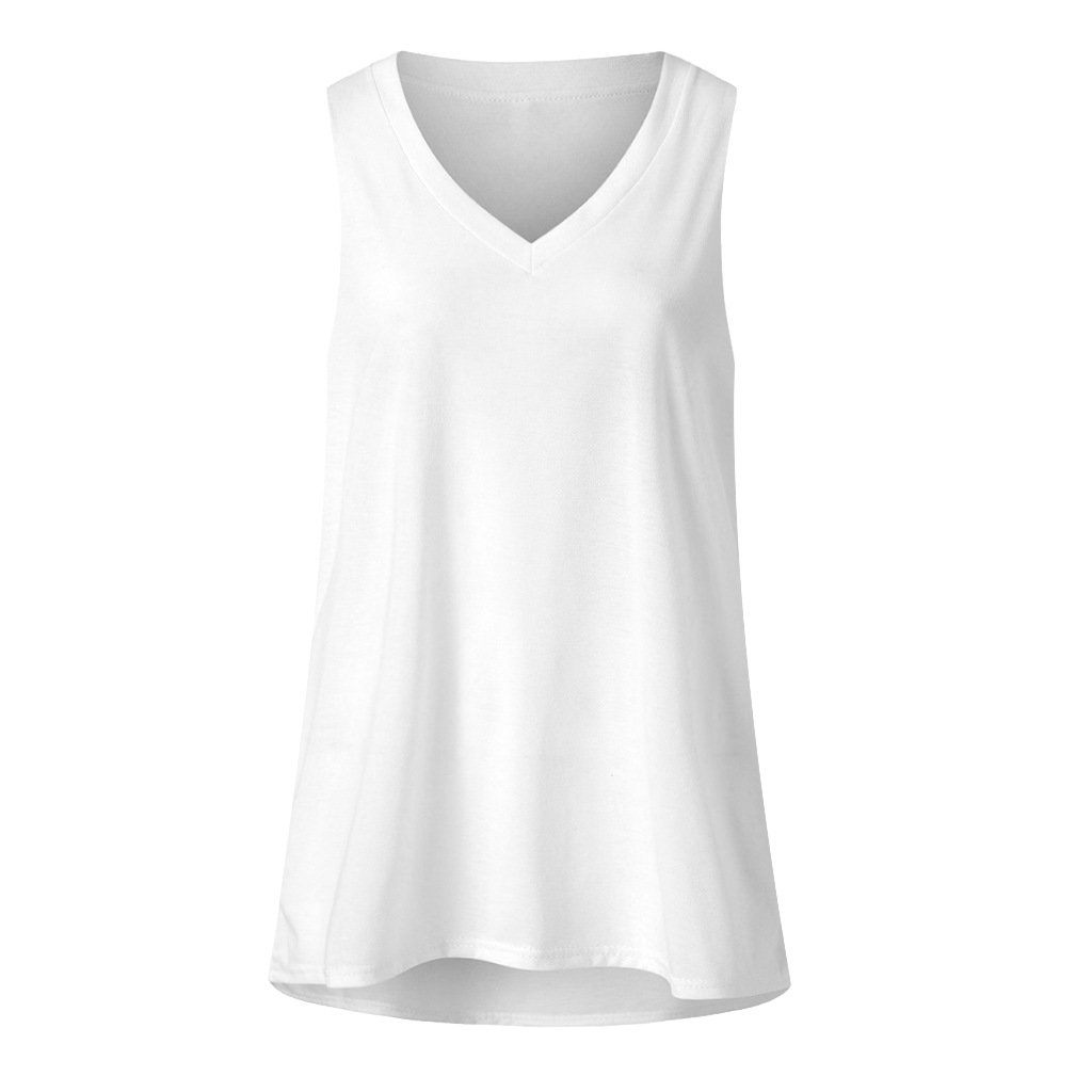 Loose V-neck sleeveless T-shirt