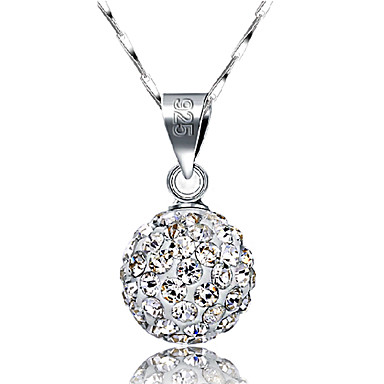 Women's Pendant Necklace Ball Pave Ball Ladies Basic Fashion Bling Bling Sterling Silver Rhinestone Silver Necklace Jewelry For Wedding Daily Casual Masquerade Engagement Party Prom