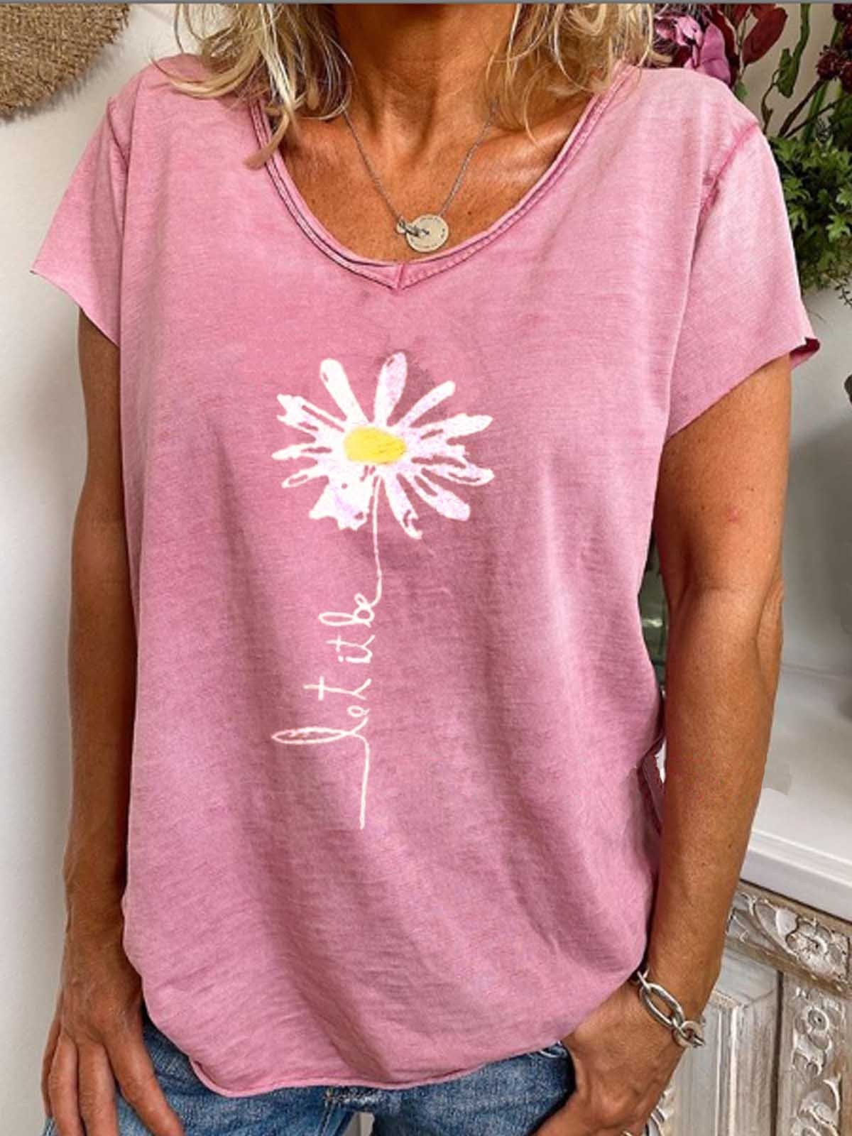 Pink Cotton-Blend Short Sleeve Shirts & Tops