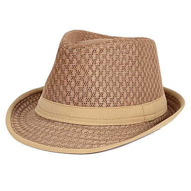 Unisex Cute Straw Floppy Hat Sun Hat-Color Block Summer