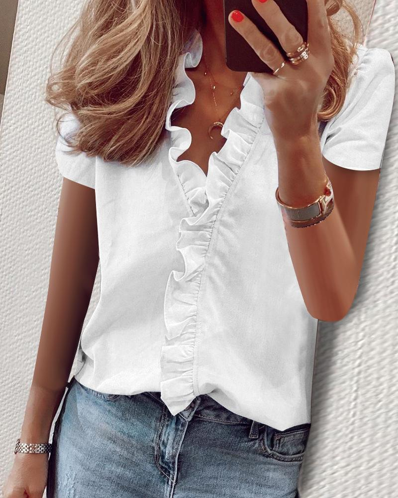 Women's Ruffled Short-sleeved Slim-fit Pineapple Print Shirt Blouse
