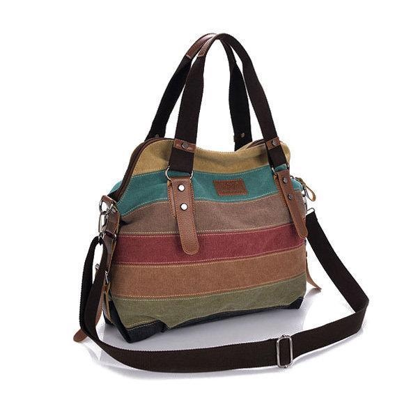 Women Casual Stripe Canvas Contrast Color Handbag Multi-pocket Shoulder Bag