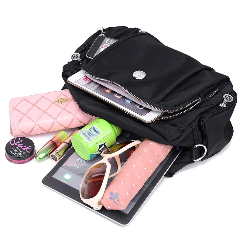 Women's Fashion Solid Waterproof Nylon Bags Multifunctional Zipper Handbags