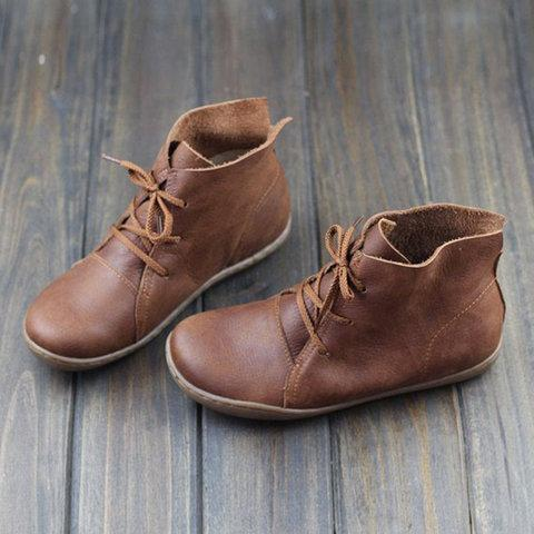 Vintage Lace Up Soft Flat Women Ankle Boots