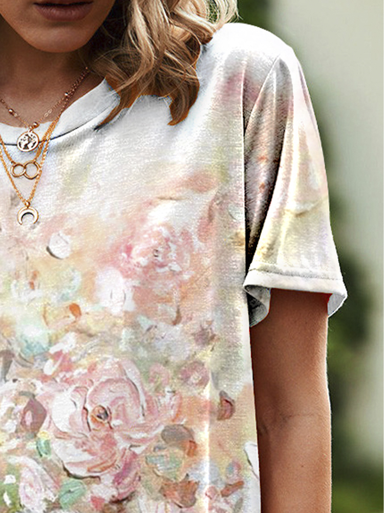 Casual Printed Round Neck Short Sleeve Loose T-shirt