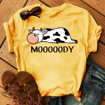 Women's Lazy Cow Print Short Sleeves Casual T-shirt