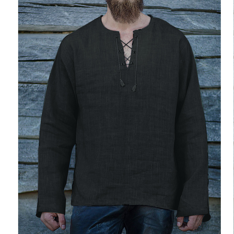 Men's Solid Lace-up V-Neck  Loose Long Sleeve Linen T-shirt