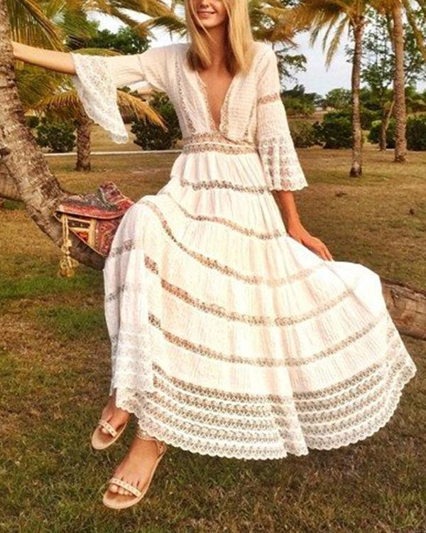 Long Sleeve Water Soluble Lace Skirt