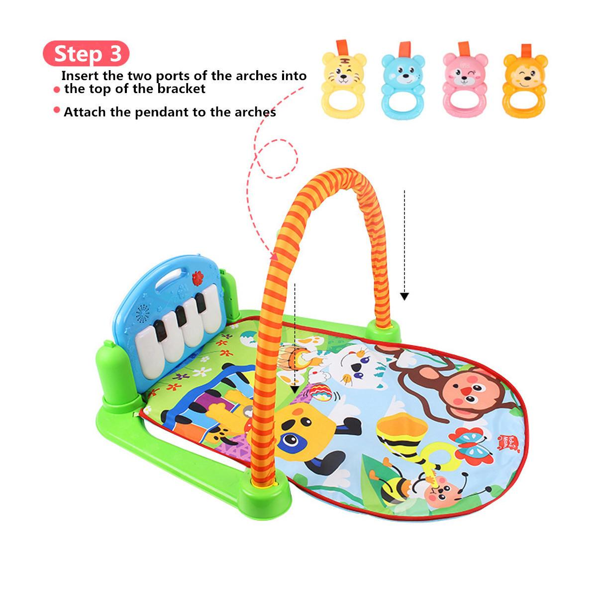3 in 1 Rainforest Musical Lullaby Baby Activity Playmat Gym Toys  Mat