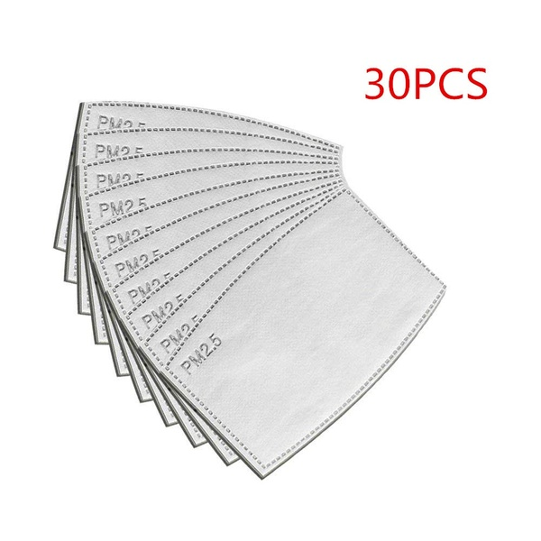 10PCS/30PCS PM2.5 N95 Activated Carbon Filter Face Mask Breathing Insert Protective Mouth Mask Filter