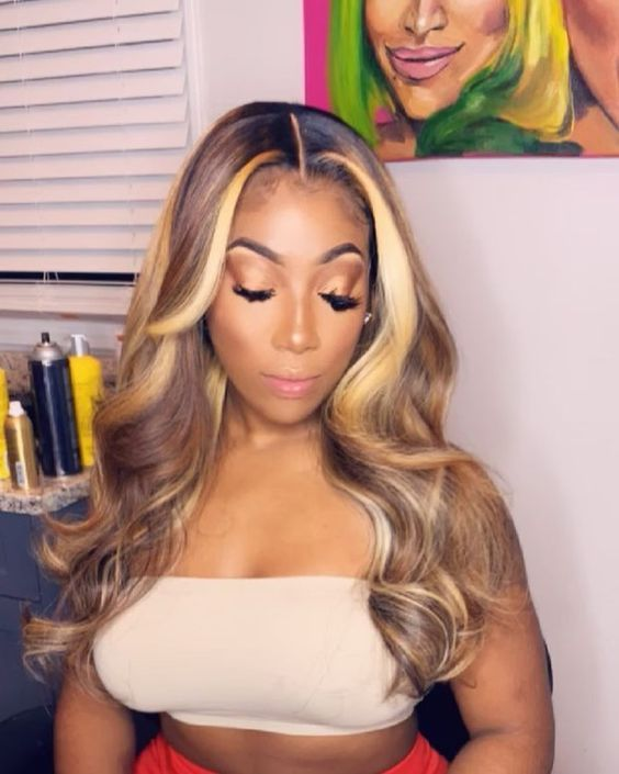 Lace Front Wigs Blonde Highlights And Lowlights Blond Lace Front Wig Human Hair Blonde Hair Extensions Clip In