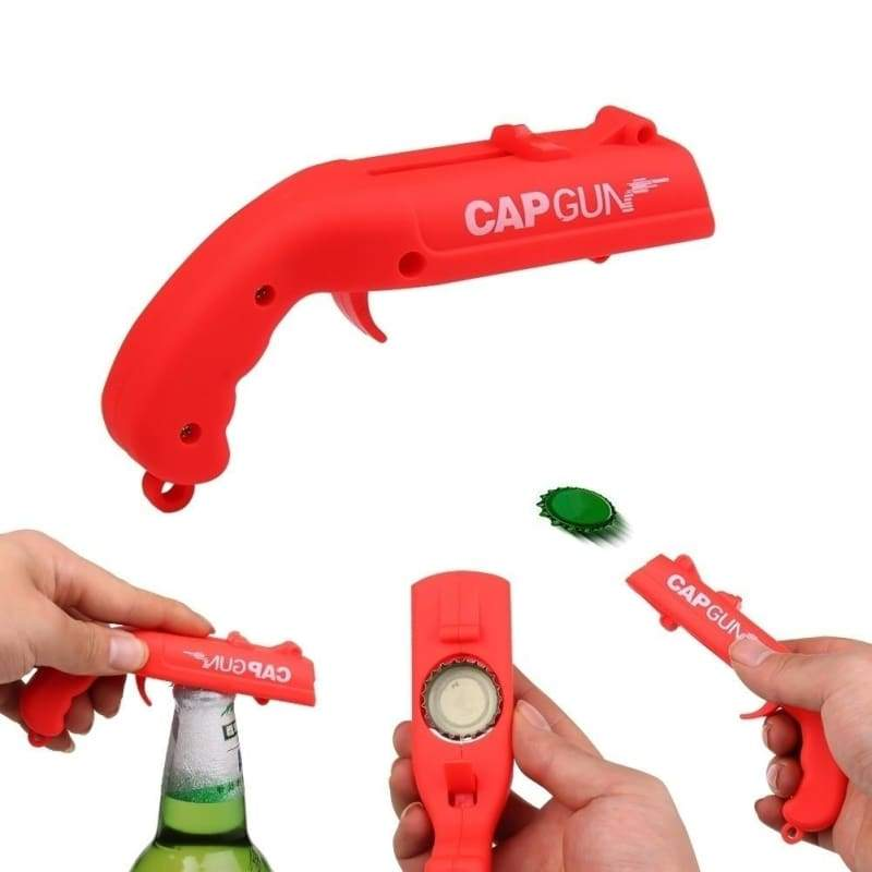 Hot Can Openers Spring Cap Catapult Launcher Gun Shape Bar Tool Drink Opening Shooter Beer Bottle Opener Creative Funny for Party